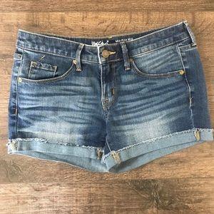 Mid-Rise Midi Denim Shorts
